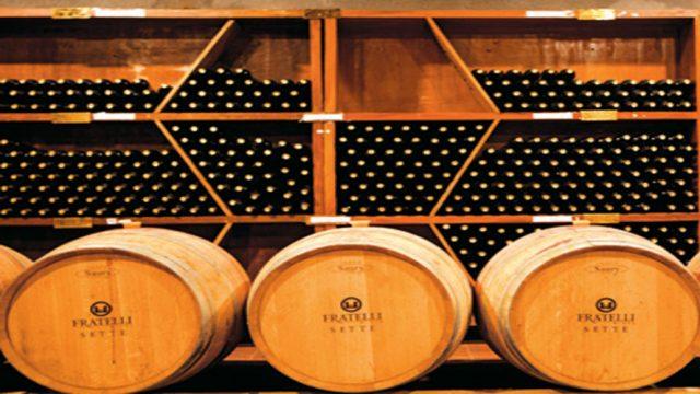 Wine ageing in oak wood barrels, Fratelli winery