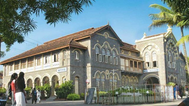 The stately façade of Fergusson College, Pune