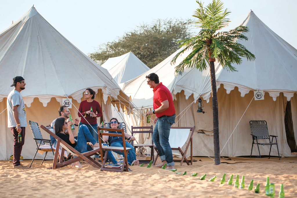 Visitors indulge in a variety of relaxing activities at the festival