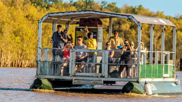 A cruise in the St. Lucia Estuary offers sights of Nile crocs