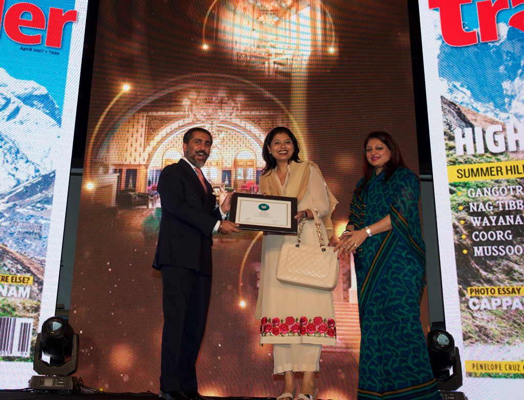 Jaisal Singh, Chief Executive, Sujan Hospitality, VP of Board of Relais and Chateaux Hotels receives the award for Best Heritage Hotel for Sujan Rajmahal Palace