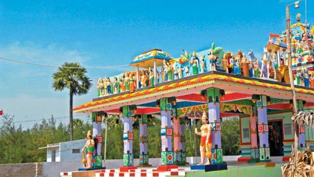 A brightly painted temple near Ramapuram Beach