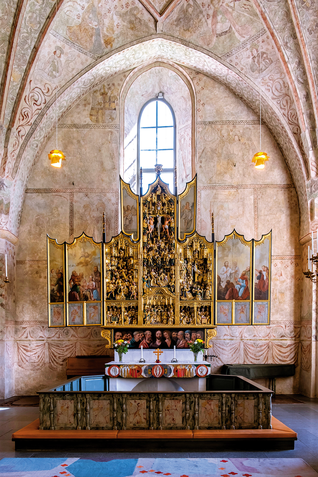 The Altar of Naderluleå Church, Gammelstad Church Town, Sweden. The church town has 424 wooden houses which were used to host worshippers on Sundays and during religious festivals.