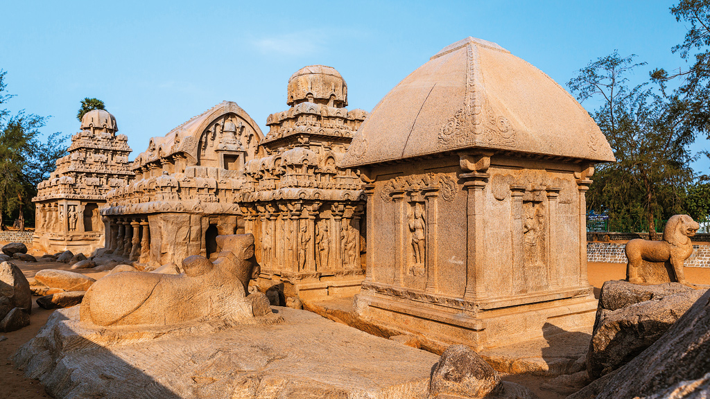 Panch Rathas, Mahabalipuram, India. Bas-reliefs, temples, cave carvings and rathas (chariots)—all form a part of the UNESCO-inscribed Mahabalipuram group of monuments. Most of these structures date back to the 7th and 8th century CE.