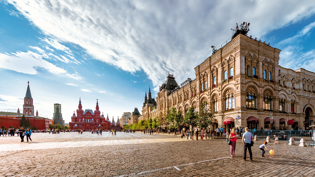 Red Square, Moscow, Russia. Along with the Kremlin and the colourful onion-domed St Basil's Cathedral, this famous city square is part of Russia's Tsarist legacy.