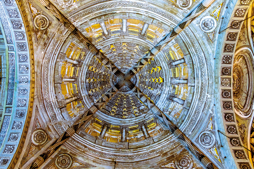The illusion of 3D bas-relief work, San Agustin Church, Manila, Philippines. It's claimed that the artists who worked on the ceiling of the Gallery of Maps in the Sistine Chapel painted this ceiling as well. This church, along with three other Baroque churches, was included in the UNESCO list in 1993.