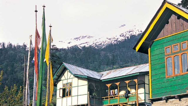 Colourful houses on stilts, Lachung Valley