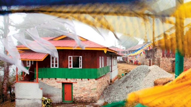 Colourful prayer flags fluttering in the breeze at Pelling