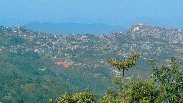 The town of Lunglei spread across a hill