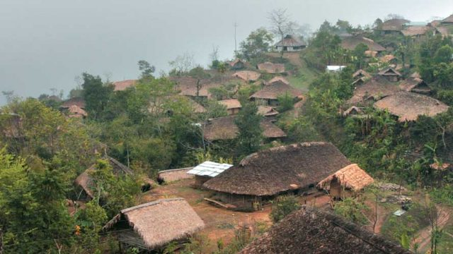 The village of Longwa, spread out on a mountainside