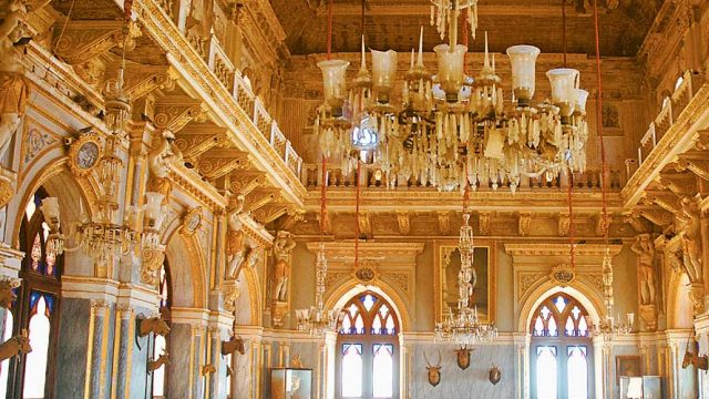 Opulent interiors of the Aina Mahal