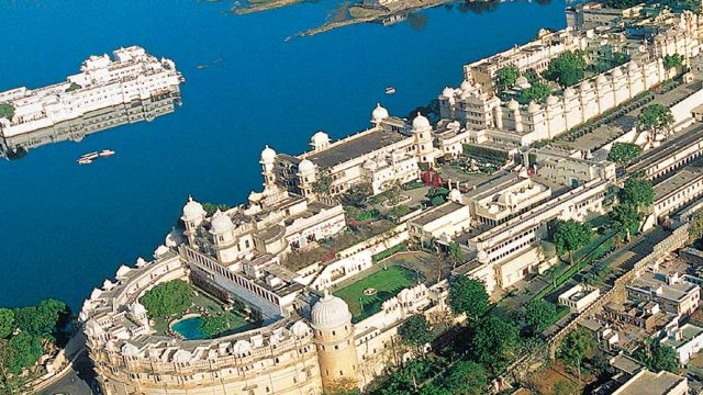 A spectacular aerial view of Udaipur city