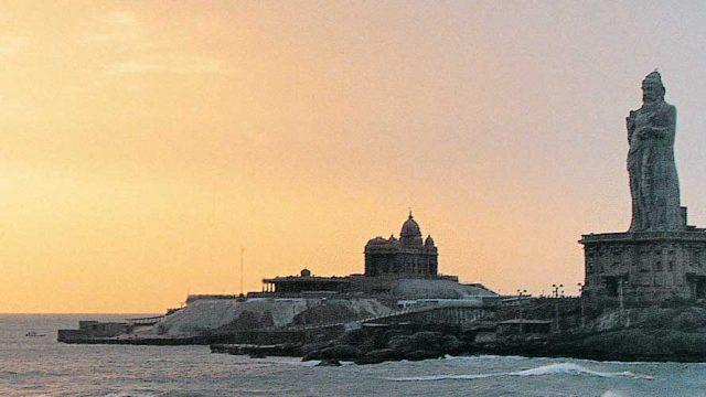 The imposing 133-ft-tall statue of Saint Thiruvalluvar