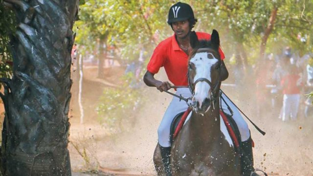 Horse riding on a training track