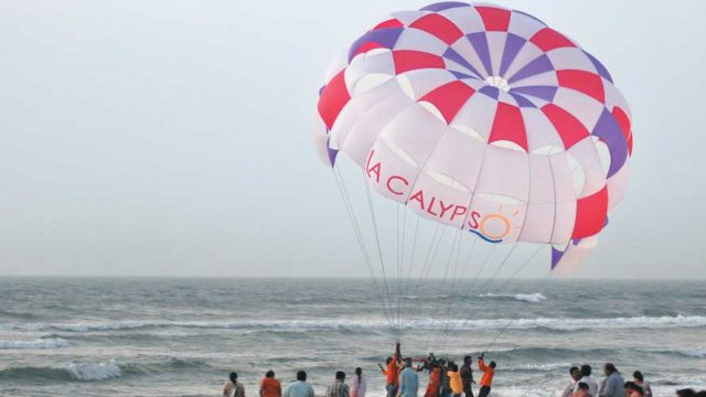 Parasailing on Kolva beach, Goa