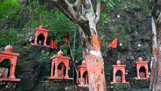 Prayer shrines at the Maa Chamunda Temple complex.