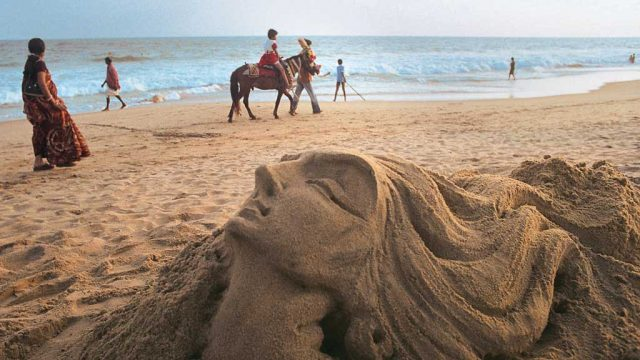 Artist Sudarsan Pattnaik's outstanding sand sculpture on Puri Beach