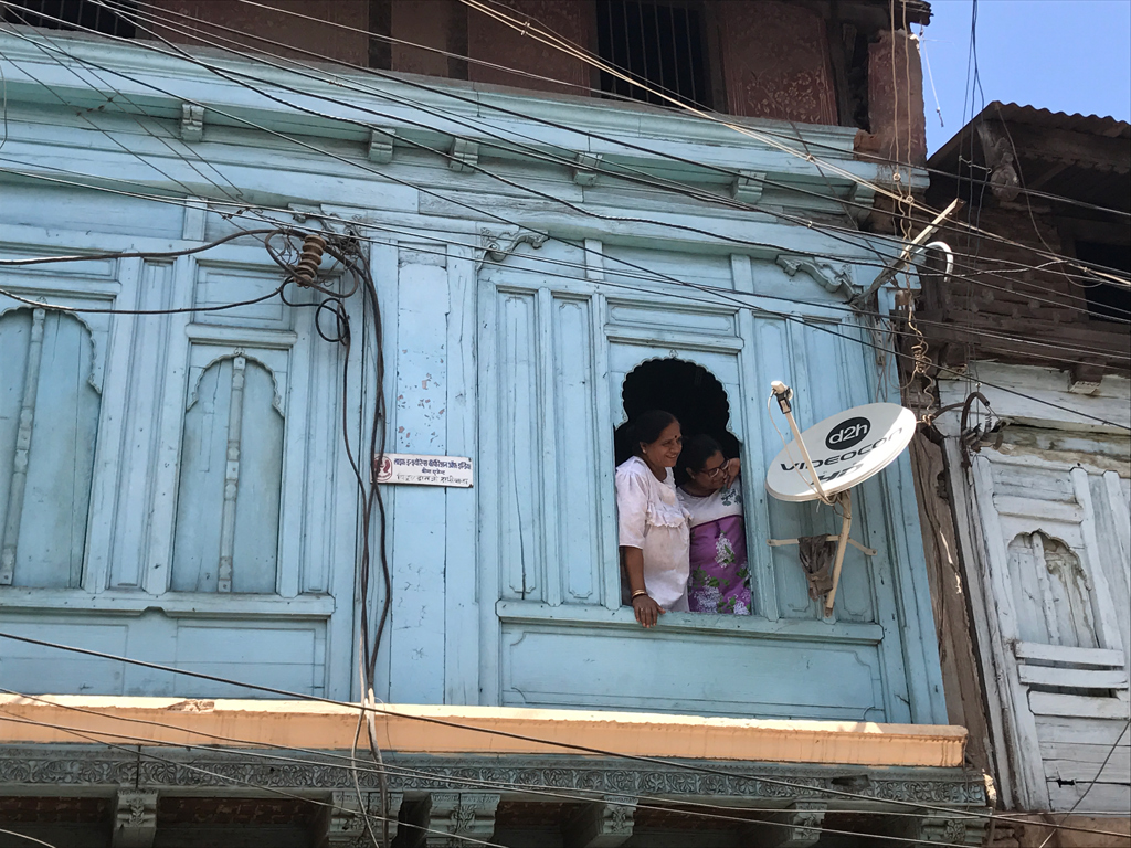 Sumitra Hathiwala and her daughter Dr Siddhi peep out of their century-old mansion