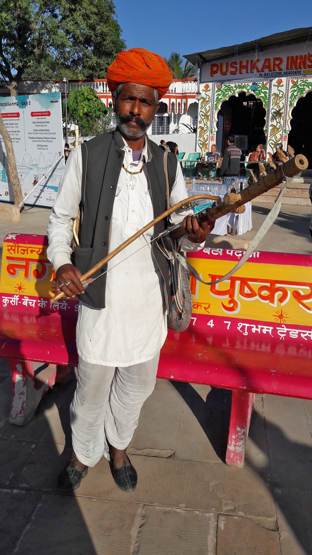 A traditional Rajasthani musician shows off his ravanahatha—an ancient stringed instrument