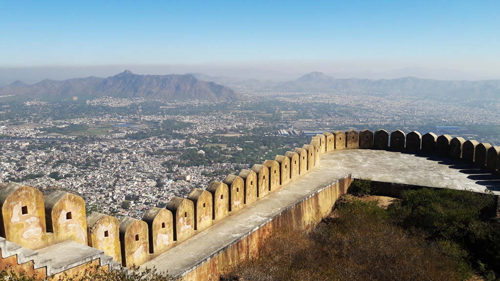 A bird's eye view of Ajmer city from Taragarh Fort