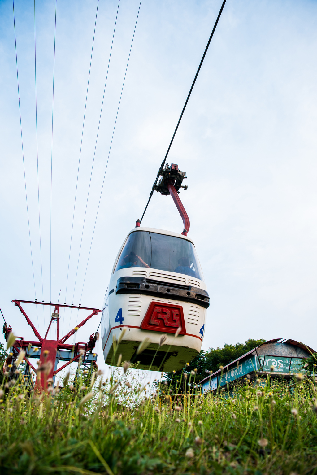 The cable car offers a great view of Dhuandhar Falls.