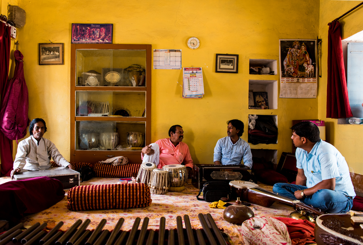 The current, fifth generation, Maihar band practices every morning at a music school in Maihar.