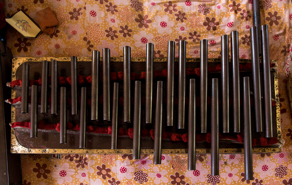 The famous nal-tarang invented by Baba uses gun barrels of varying dimensions to produce different notes.