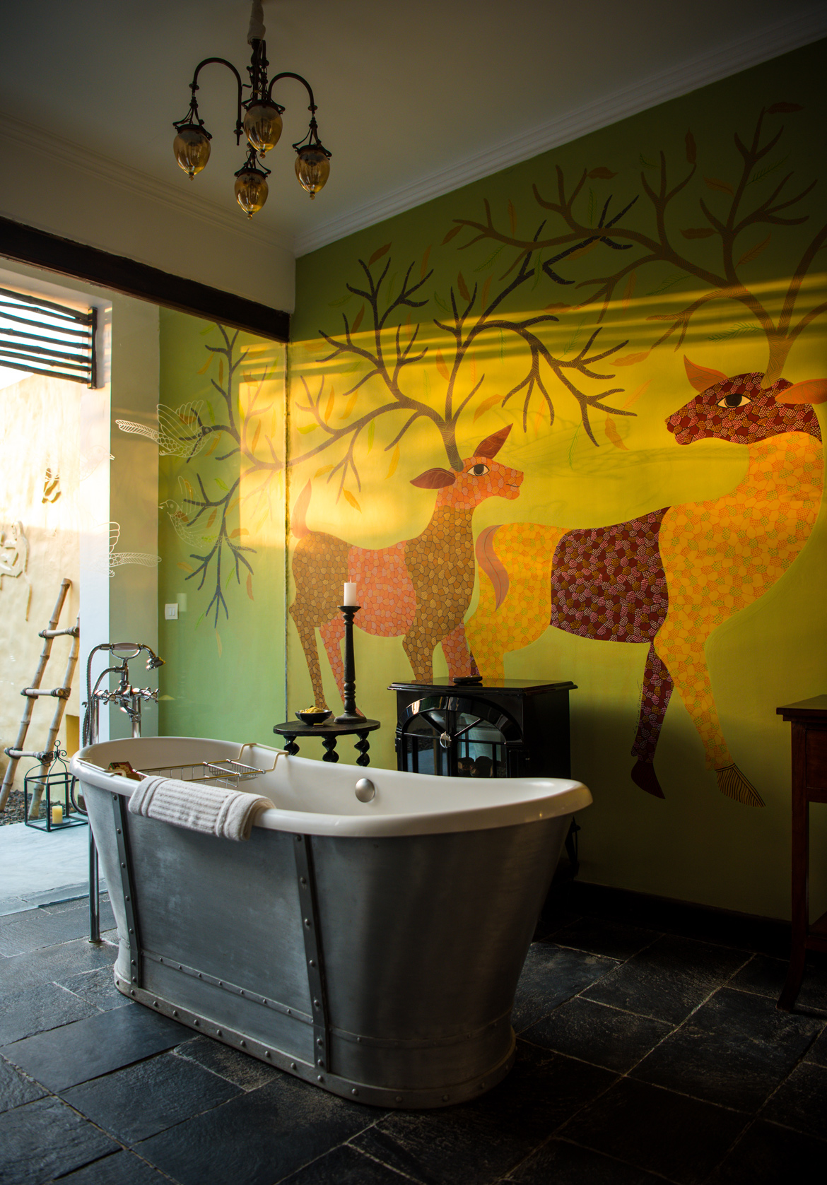 A Gond painting inside one of the villas at Samode Safari Lodge in Bandhavgarh.