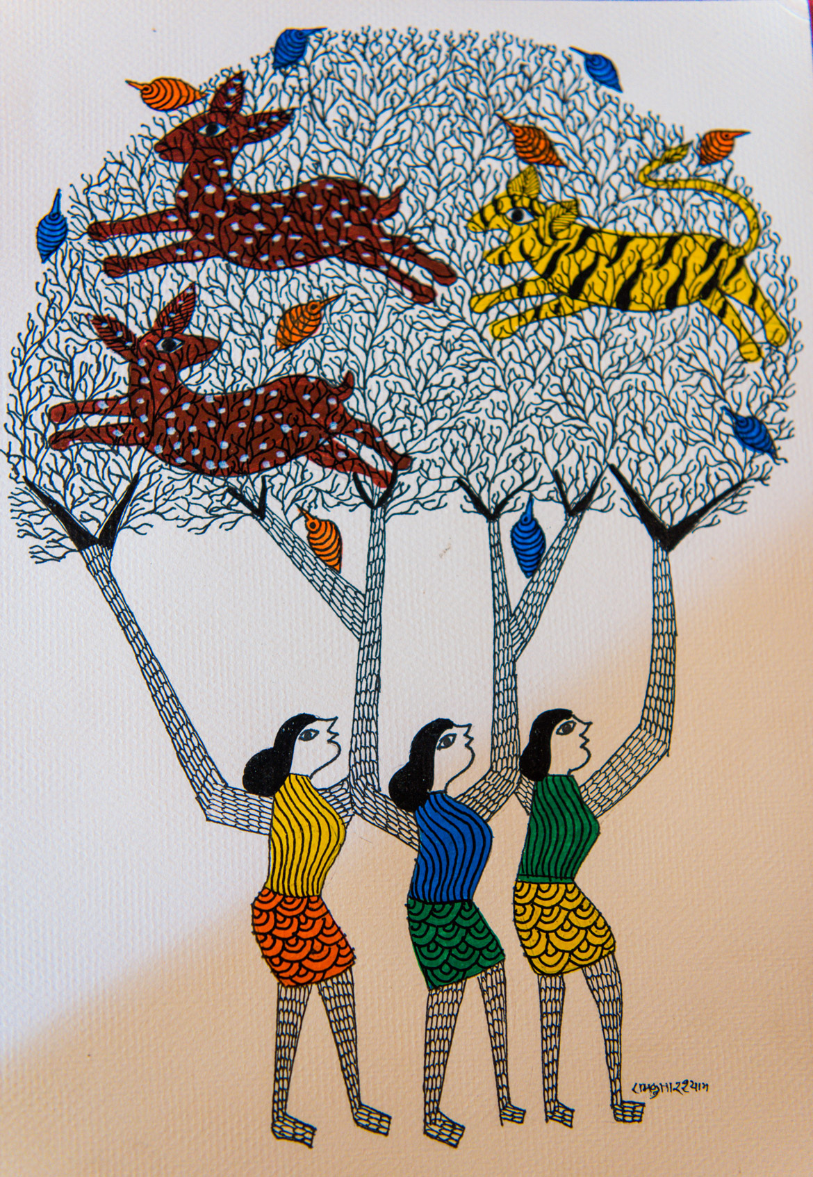 One of the paintings by Ram Kumar Shyam.