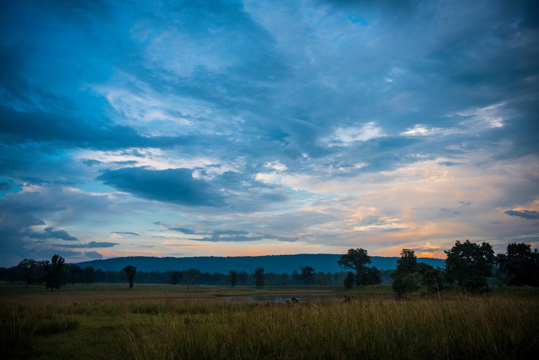 Sunset over the Bahmni Dadar plateau at Kanha Tiger Reserve