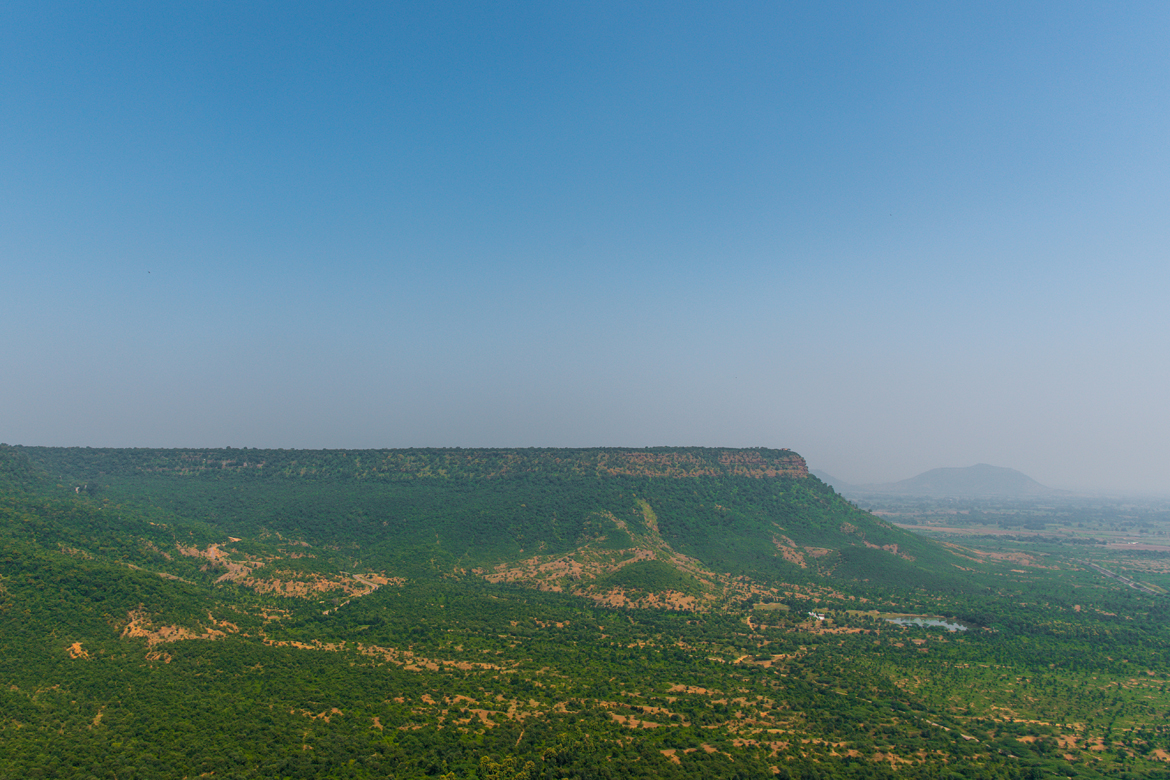 Maihar's Maa Sharda Temple sits atop a hill overlooking a plateau.