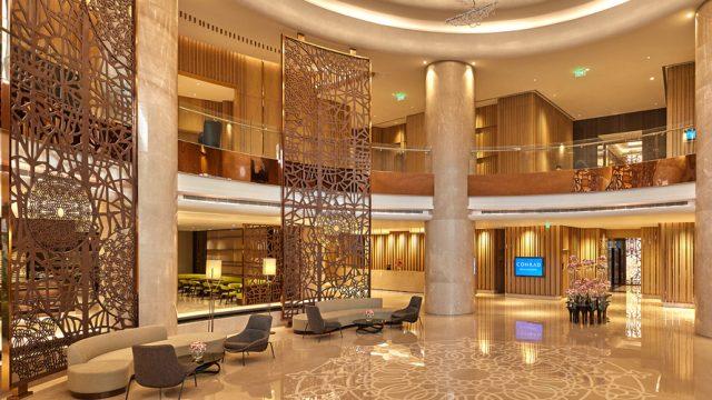 The main lobby at the Conrad Bengaluru