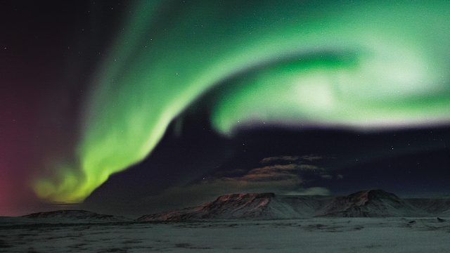 The Northern Lights at Mount Esja