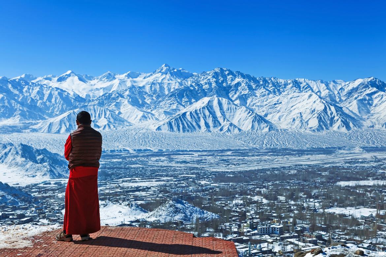 Leh, Jammu and Kashmir: An aerial view of Leh