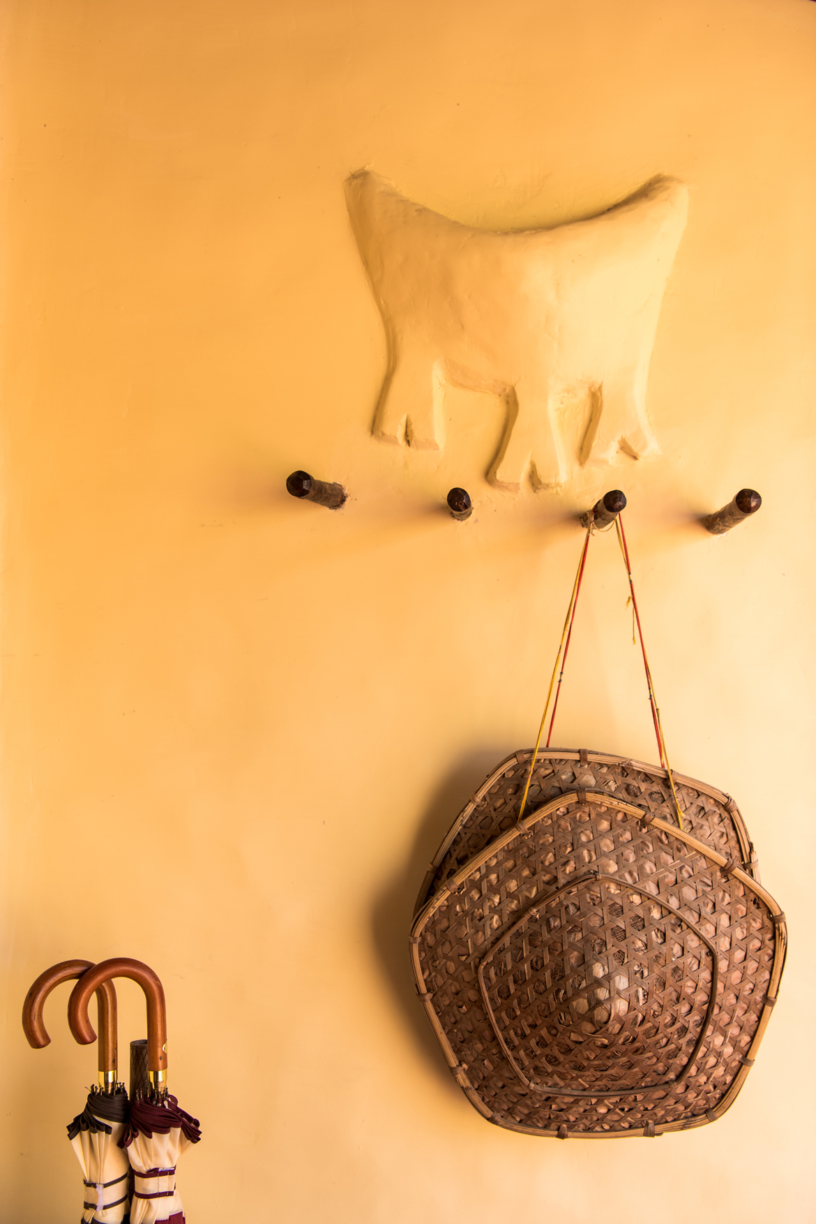 A fine example of traditional embossed clay art on walls at Samode Safari Lodge in Bandhavgarh
