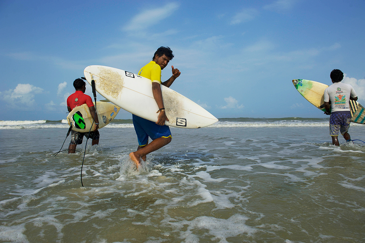 Surfers just before their round