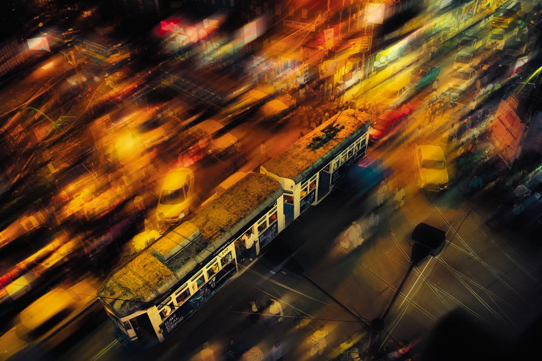 The Kolkata tram whizzing past