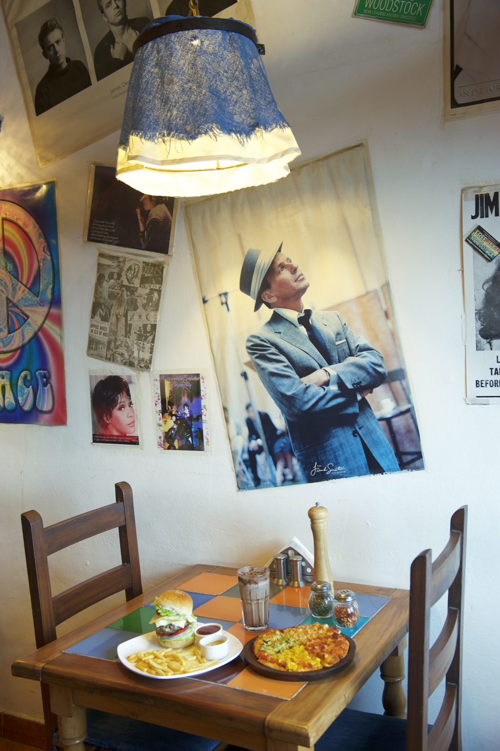 Pizza and posters at Clock Tower Cafe