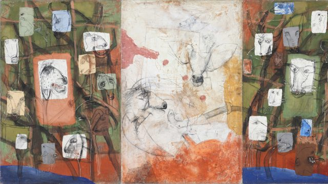 MANU PAREKH. Title GRAFFITY OF VOLANCE 4 Size 72_x144_ Inches Medium Acrylic Canvas on Board Year 1995