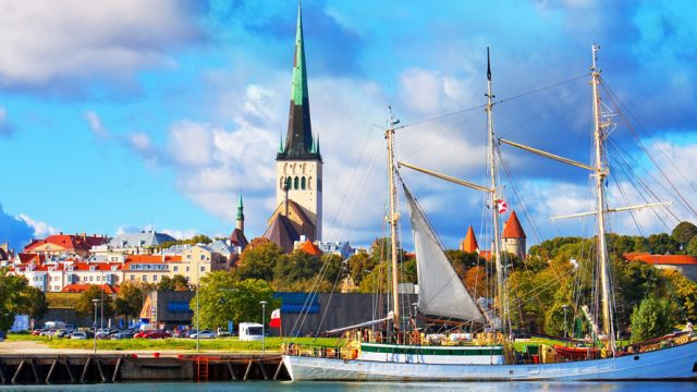 A view of Tallinn port with the backdrop of the Old Town