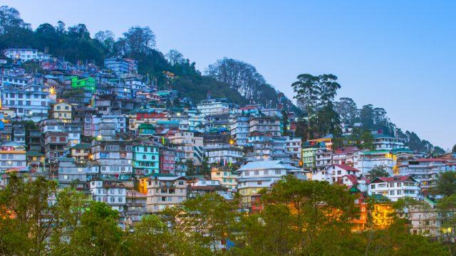 An aerial view of Gangtok