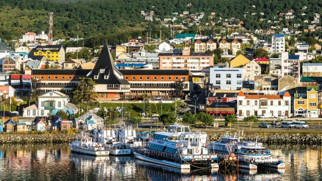 The resort town of Ushuaia at the southern tip of South America