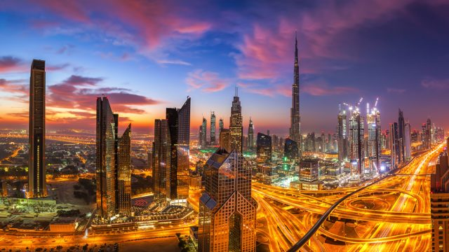 Dubai-skyline-at-sunset