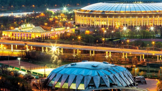 Night-view-of-the-Luzhniki-Stadium,-Moscow,-Russia.-View-from-the-Russian-Academy-of-Sciences-headquarters-building