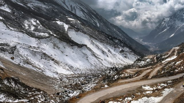 Zero Point offers a spectacular view of snow-clad mountains and the Yumthang Valley