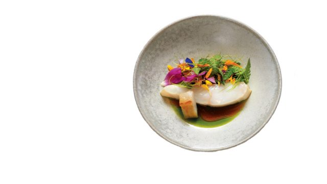 Wild turbot with flower broth