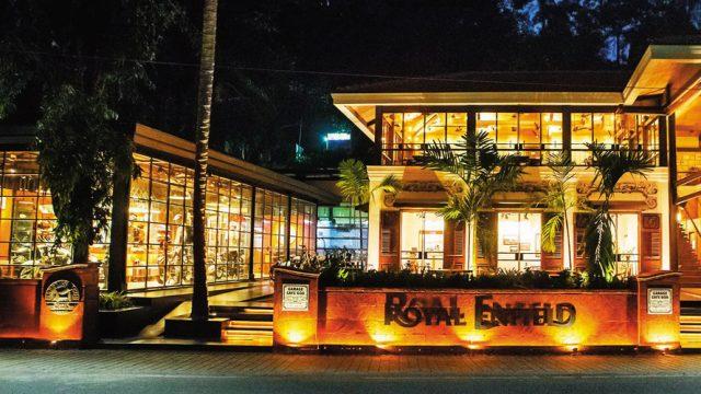 The facade of the Royal Enfield Garage Cafe