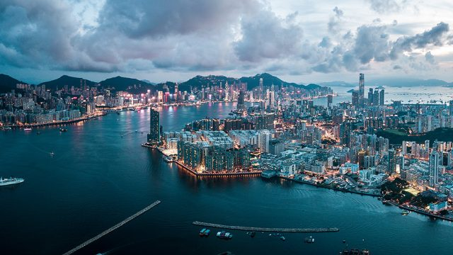 An aerial view of Hong Kong's Victoria Harbour and Kowloon Bay