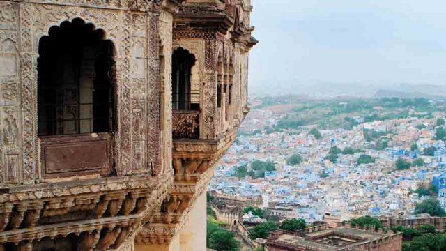 The Blue City spreads out from the base of the imposing Mehrangarh Fort