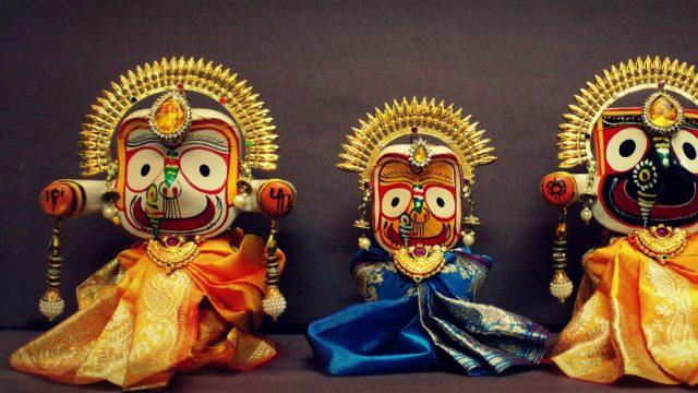 The idols of Lord Jagannath, Lord Balabhadra and Goddess Subhadra